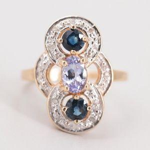 14k gold, tanzanite, sapphire, and diamond ring